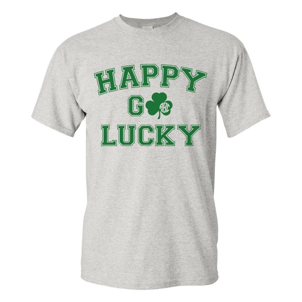 Monogrammed 'Happy Go Lucky' T-Shirt