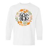 Monogrammed Autumn Wreath Leaf Crown Long Sleeve Shirt Kids Youth Toddler