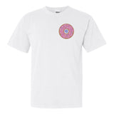 White Comfort Colors T-SHirt with Pink Embroidery Donut Monogram