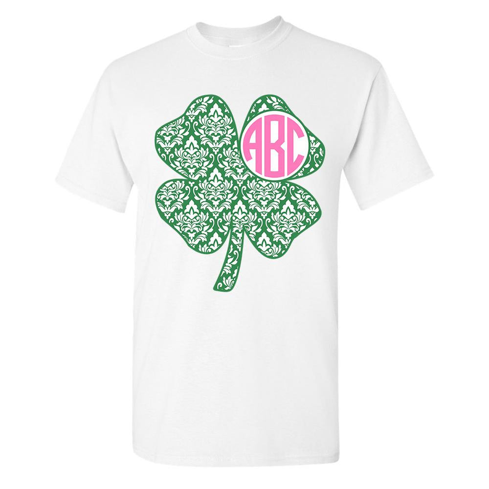 White Shamrock T-Shirt with Personalized Monogram
