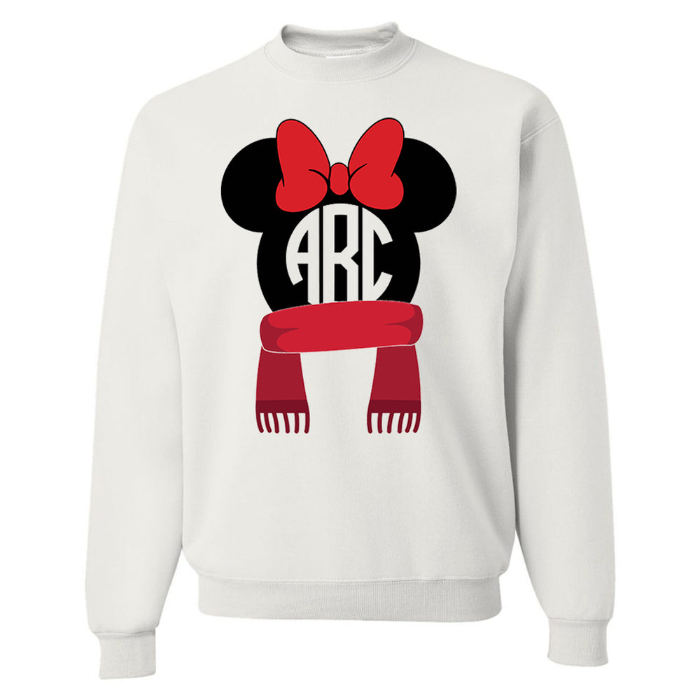Monogrammed Disney Minnie Holiday Winter Christmas Sweatshirt Reindeer Scarf Earmuffs