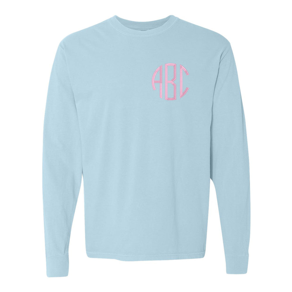 Monogrammed Embroidered Comfort Colors Long Sleeve Shirt