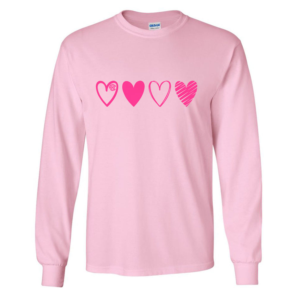 Monogrammed 'Pink Hearts' Long Sleeve T-Shirt