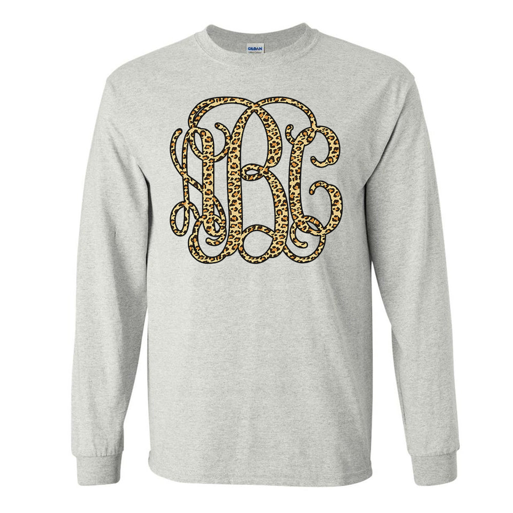 19bfda174 Monogrammed 'Leopard' Big Print Long Sleeve T-Shirt – United Monograms