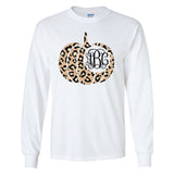 Monogrammed Leopard Pumpkin Long Sleeve Shirt