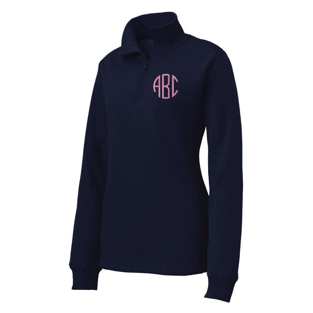 Monogrammed Ladies Quarter Zip Sweatshirt