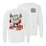 Monogrammed Merry & Bright Front & Back Long Sleeve Shirt Christmas