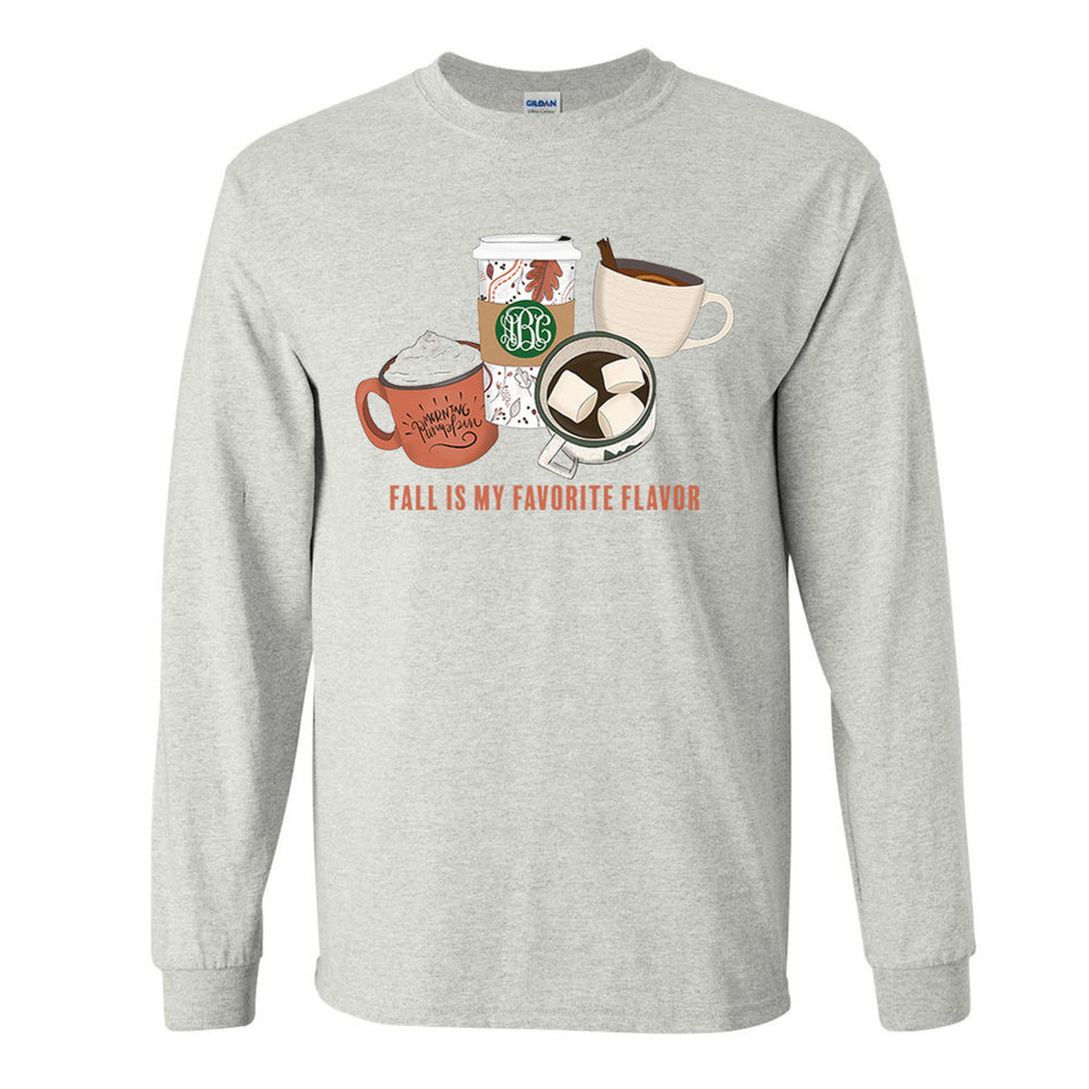 Monogrammed Fall Is My Favorite Flavor Coffee Long Sleeve Shirt