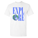 "White T-Shirt ""Explore"" Graphic Monogram T"