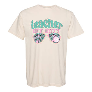 Monogrammed 'Teacher Off Duty' T-Shirt