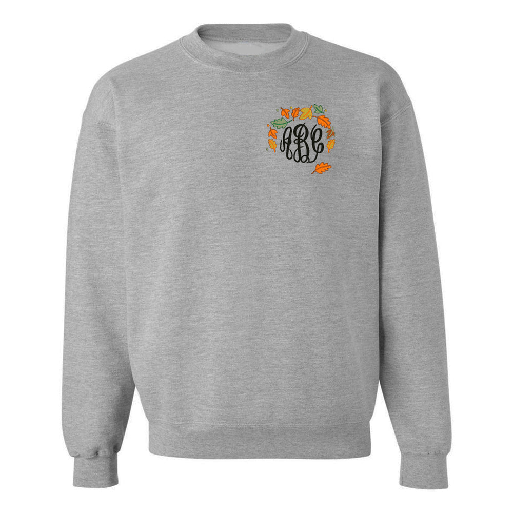 Monogrammed Fall Autumn Leaves Embroidered Sweatshirt