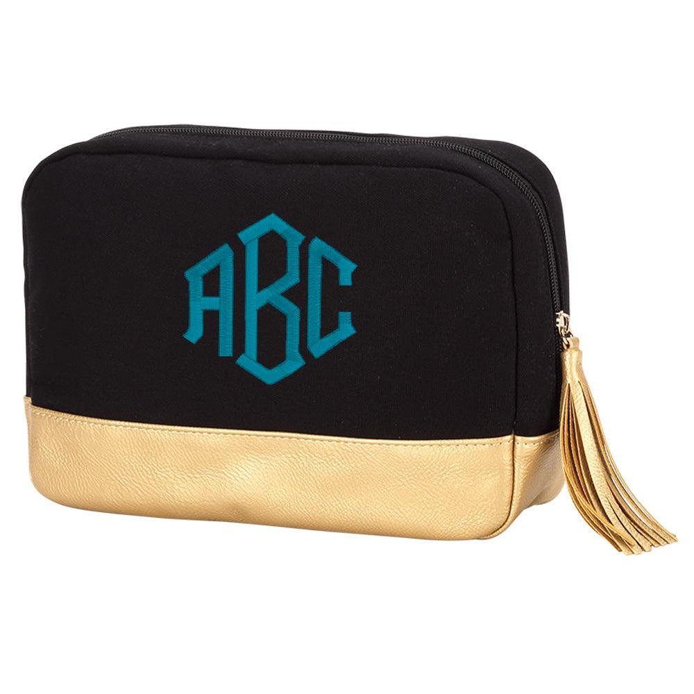 Monogrammed Cabana Cosmetic Bag
