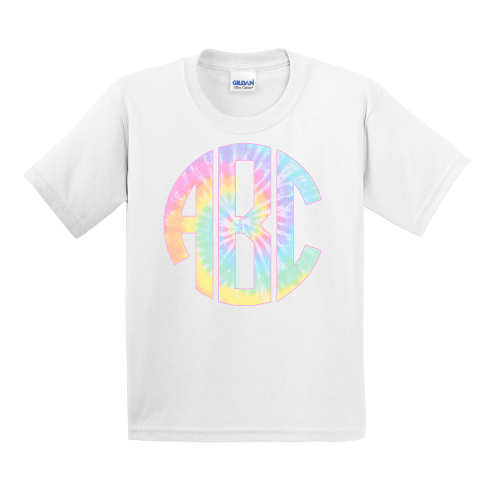 Monogrammed Kids Youth Toddler Tie Dye T-Shirt