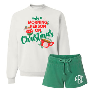 Monogrammed Only A Morning Person On Christmas Lounge Set Package