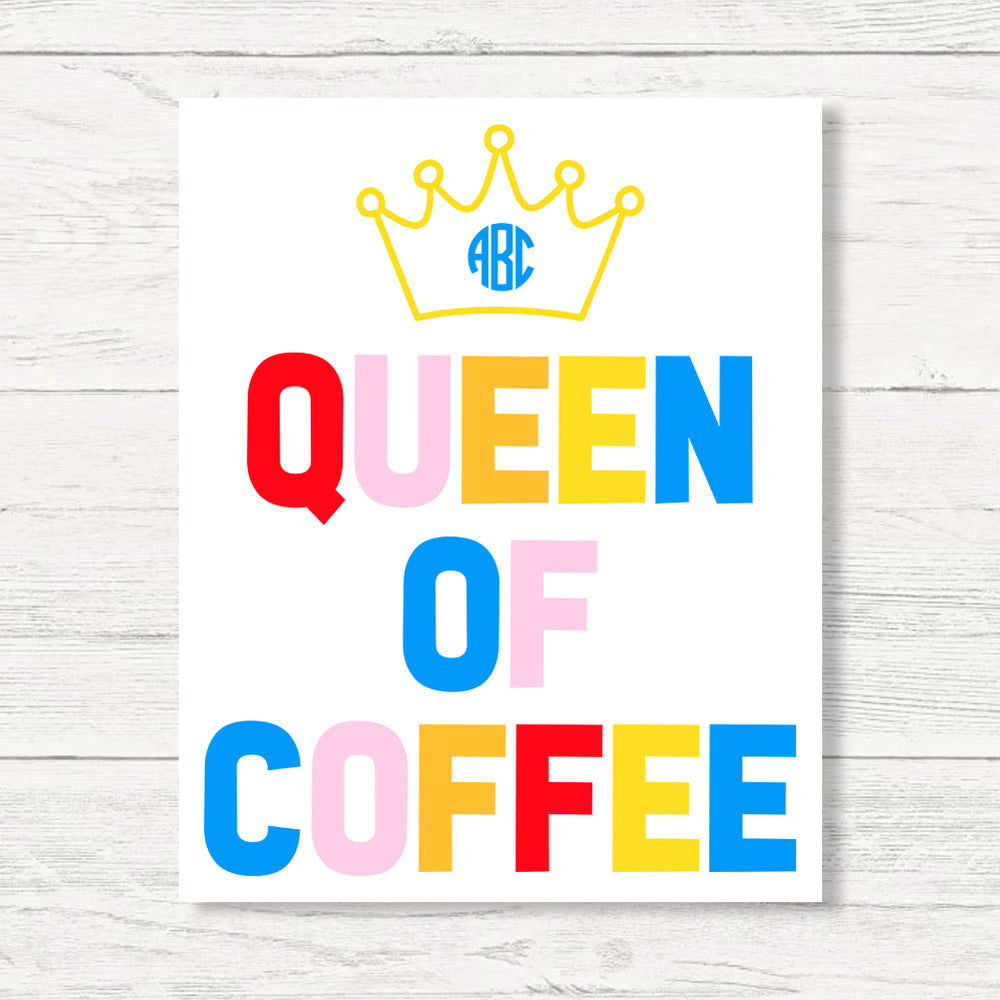 Monogrammed Queen Of Coffee Wall Art Canvas