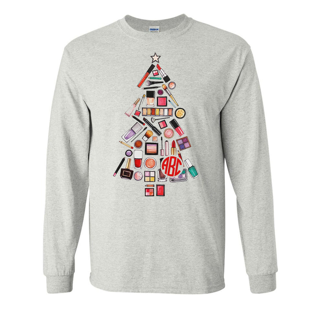 Monogrammed Makeup Christmas Tree Long Sleeve Shirt