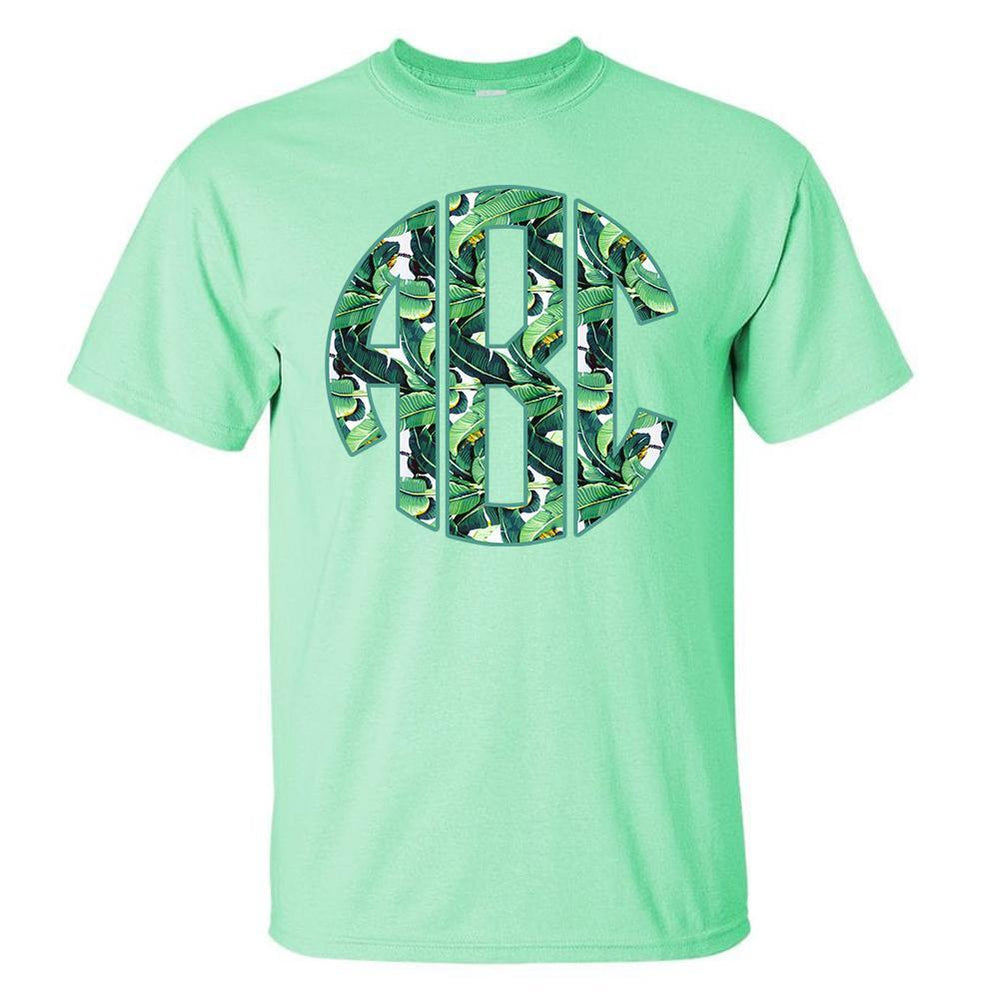 Monogrammed Banana Leaves Palm Leaves T-Shirt