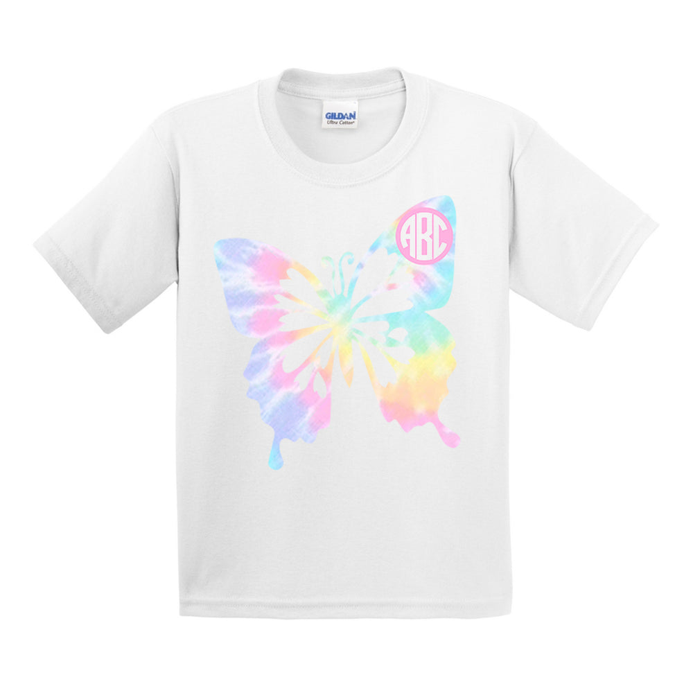Monogrammed Tie Dye Butterfly T-Shirt Youth Kids Toddler