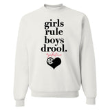 Monogrammed Galentine's Day Girls Rule Boys Drool Sweatshirt