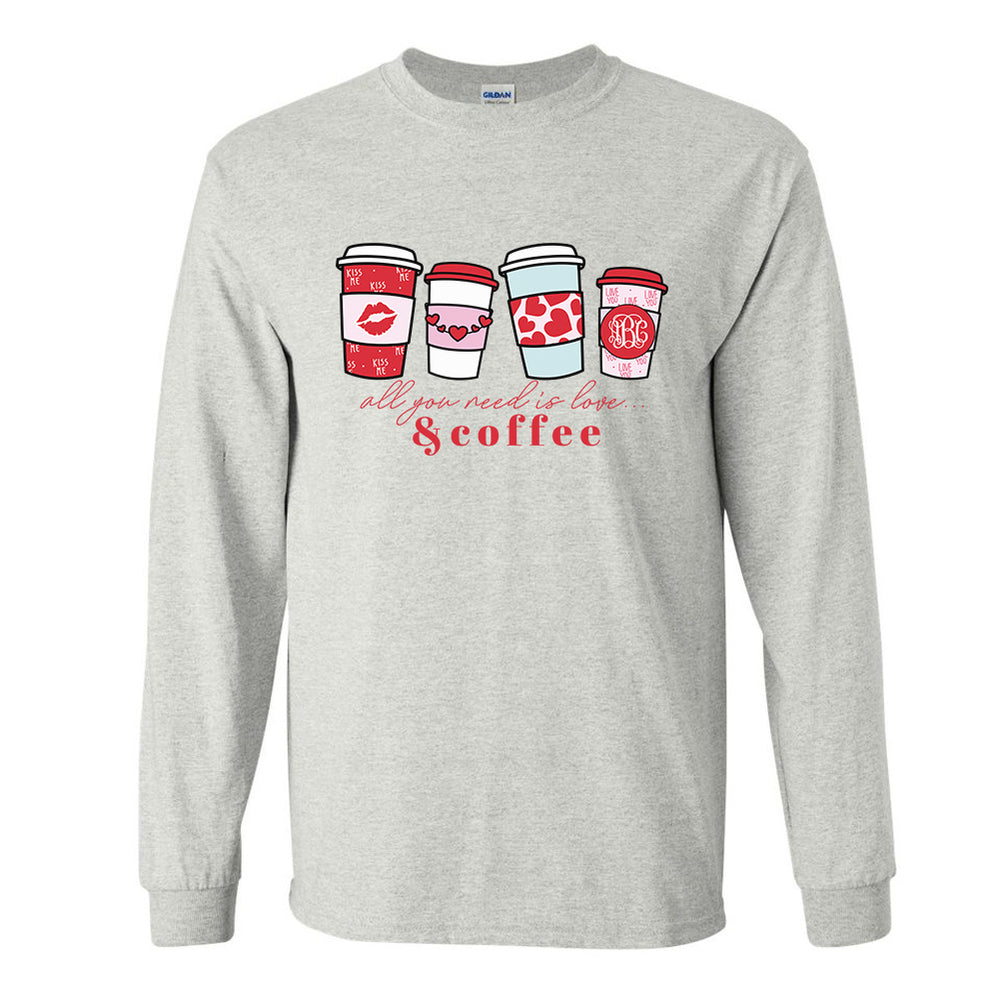 Monogrammed 'Love & Coffee' Long Sleeve T-Shirt