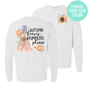 Monogrammed Autumn Leaves & Pumpkins Please Front & Back Shirt