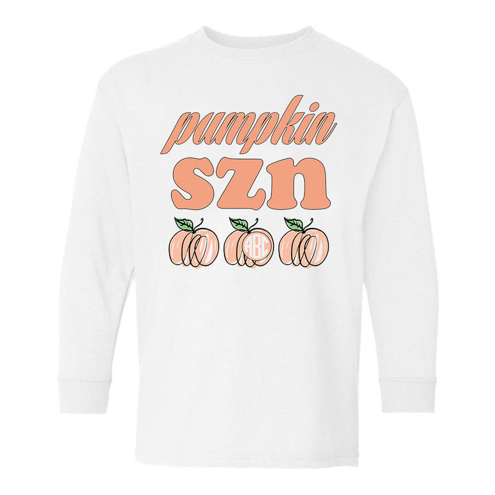 Monogrammed Kids Youth Toddler Pumpkin SZN Long Sleeve Shirt