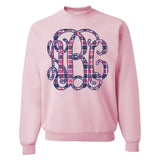 Monogrammed Plaid Crewneck Sweatshirt