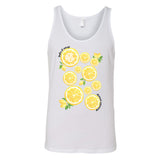 White United Monograms Summer Graphic Tank with Lemons