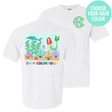 Monogrammed Mermaid Swim Colorfully Front & Back T-Shirt