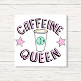 Monogrammed Caffeine Queen Wall Art Canvas
