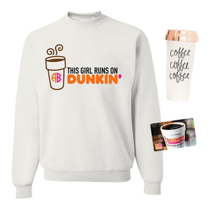 Monogrammed Dunkin Donuts Lover Package Sweatshirt Travel Coffee Mug Gift Card