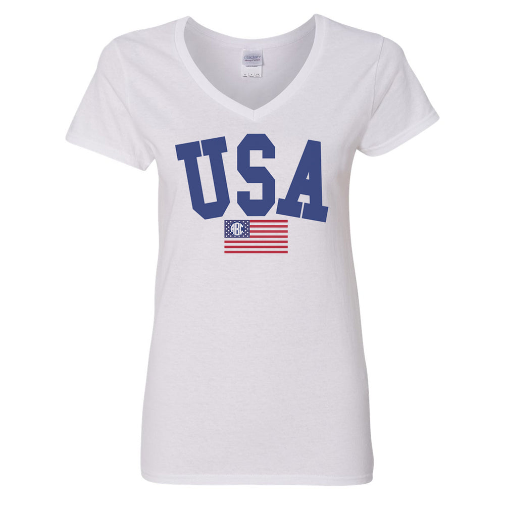 Monogrammed USA Classic V-Neck T-Shirt Fourth of July