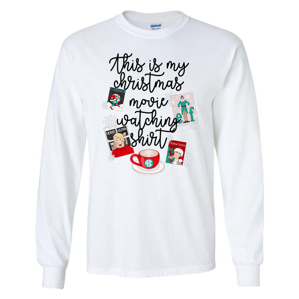 Monogrammed This Is My Christmas Movie Watching Shirt Long Sleeve Shirt