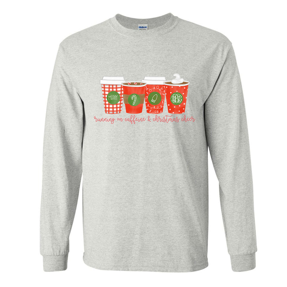Monogrammed Running On Caffeine & Christmas Cheer Long Sleeve Shirt