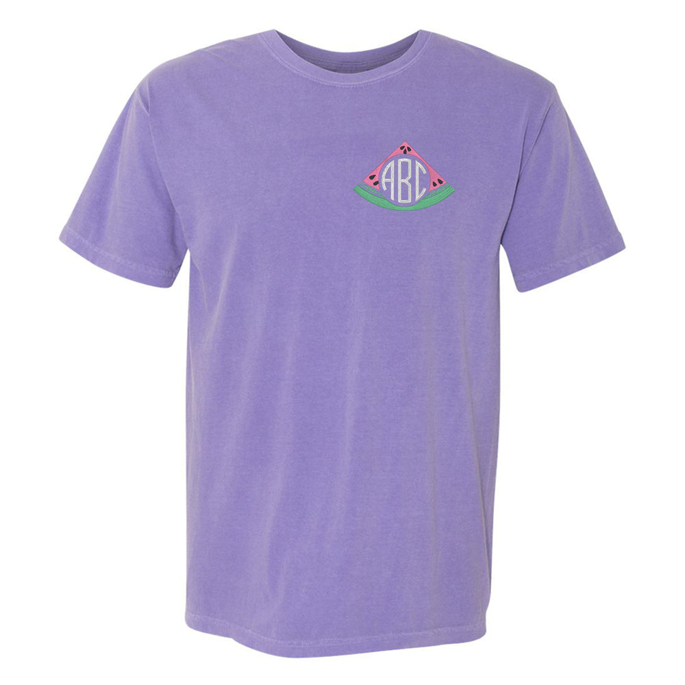 Watermelon Summer Monogram Comfort Colors Quality Tee