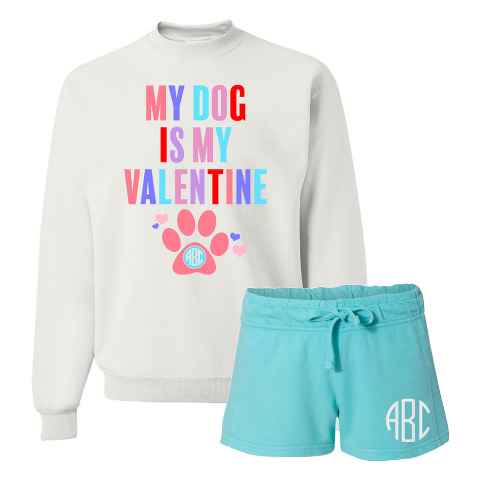 Monogrammed My Dog Is My Valentine Lounge Set