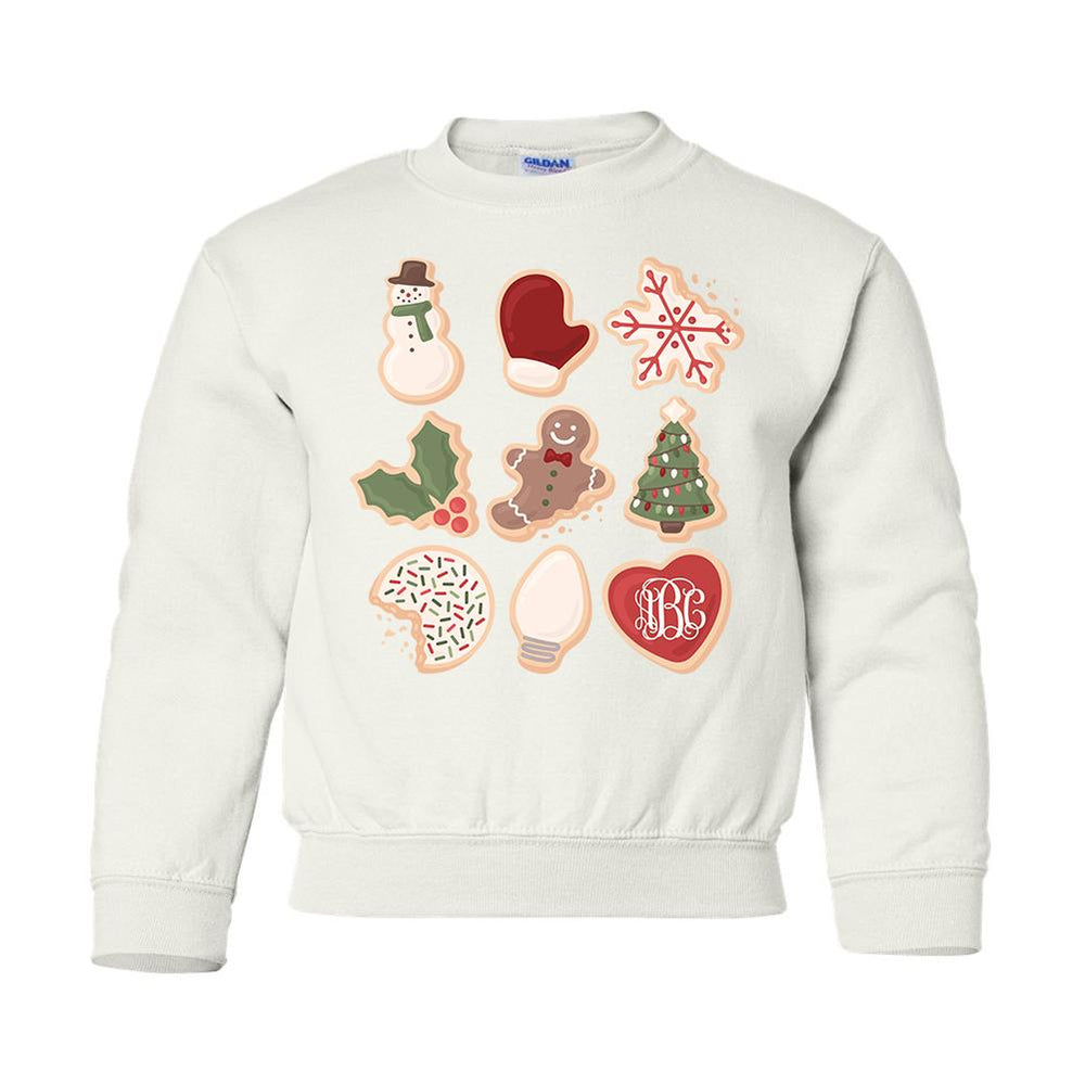 Monogrammed Kids Youth Christmas Cookies Sweatshirt