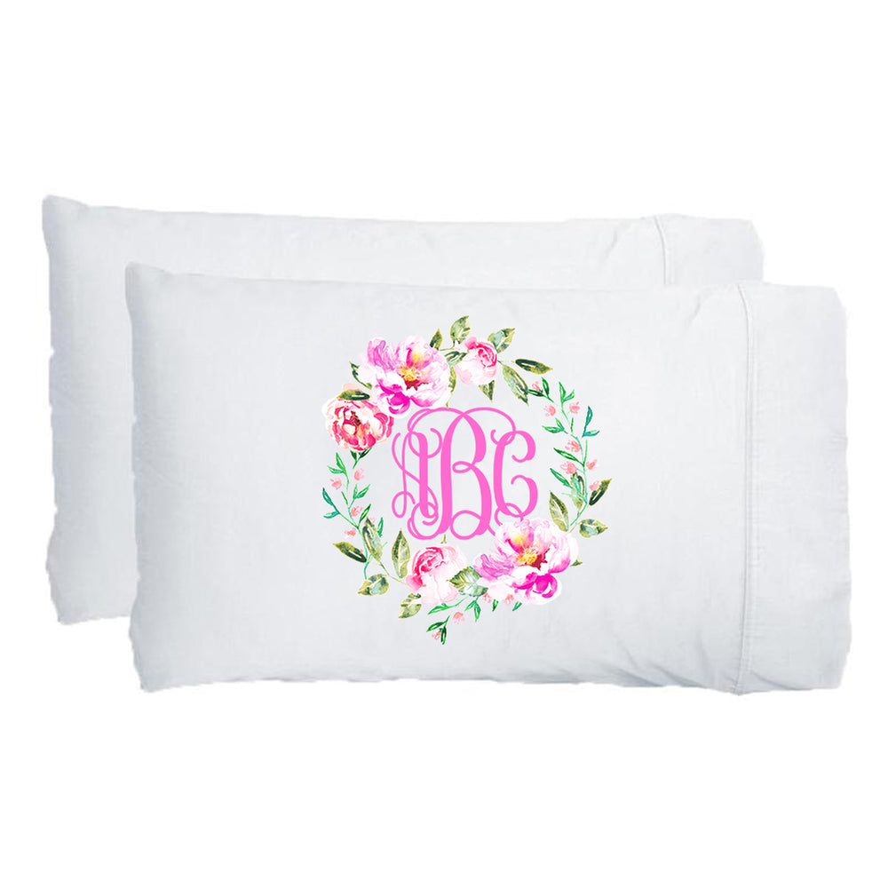 Monogrammed Spring Flowers Pillowcases