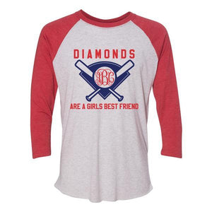 Monogrammed Diamonds Are A Girls Best Friend Raglan Baseball Tee