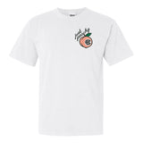 White Comfort Colors t-shirt with 'Just Peachy' Monogram Embroidery