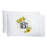 Monogrammed Sunflower Pillowcases