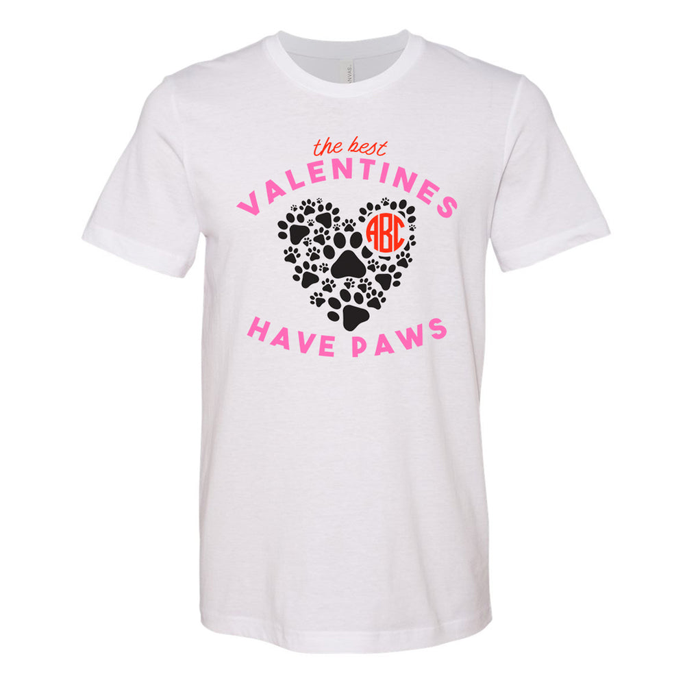Monogrammed 'The Best Valentines Have Paws' Premium T-Shirt