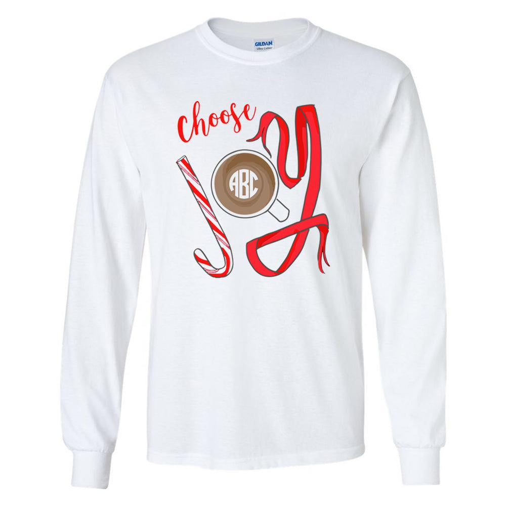 Monogrammed Choose Joy Long Sleeve Shirt