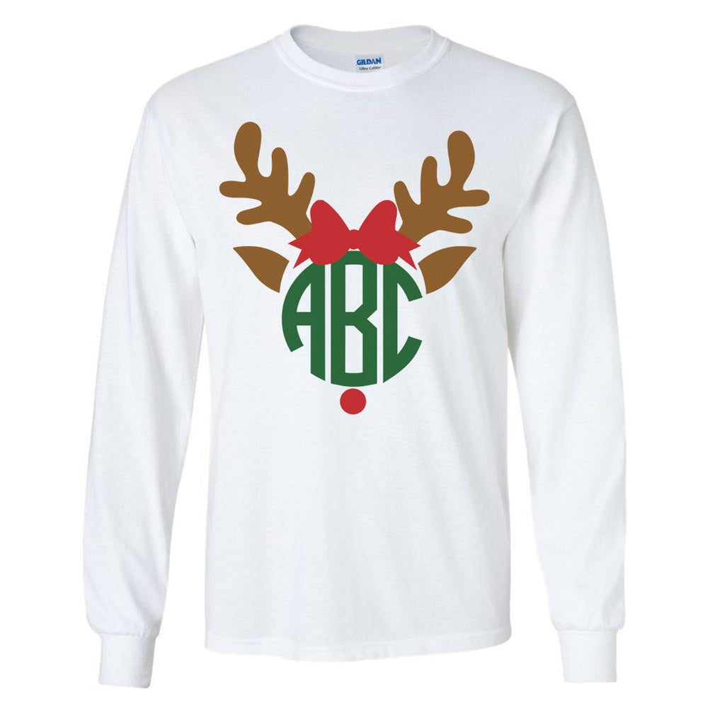 Monogrammed Christmas Reindeer Long Sleeve Shirt