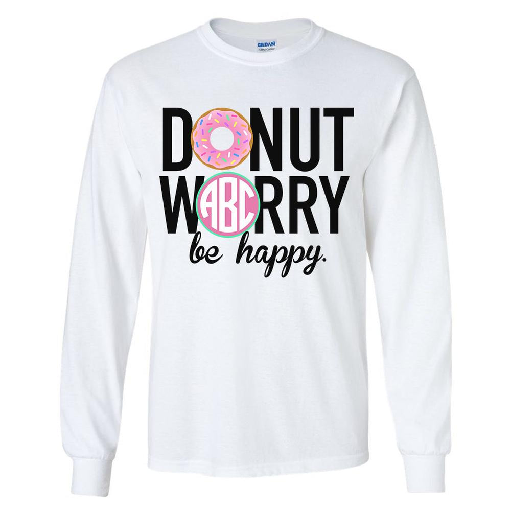 Monogrammed 'Donut Worry' Long Sleeve T-Shirt