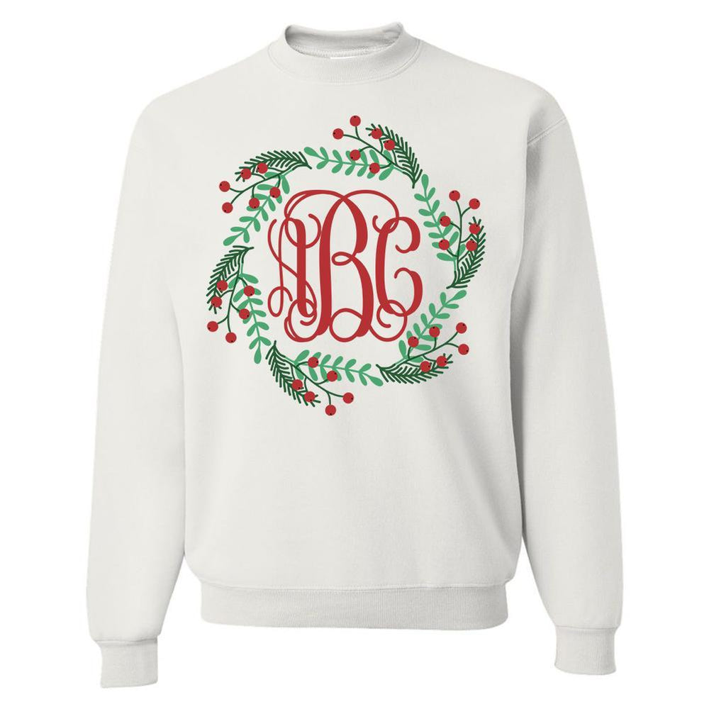 Monogrammed Christmas Holly Wreath Crewneck Sweatshirt