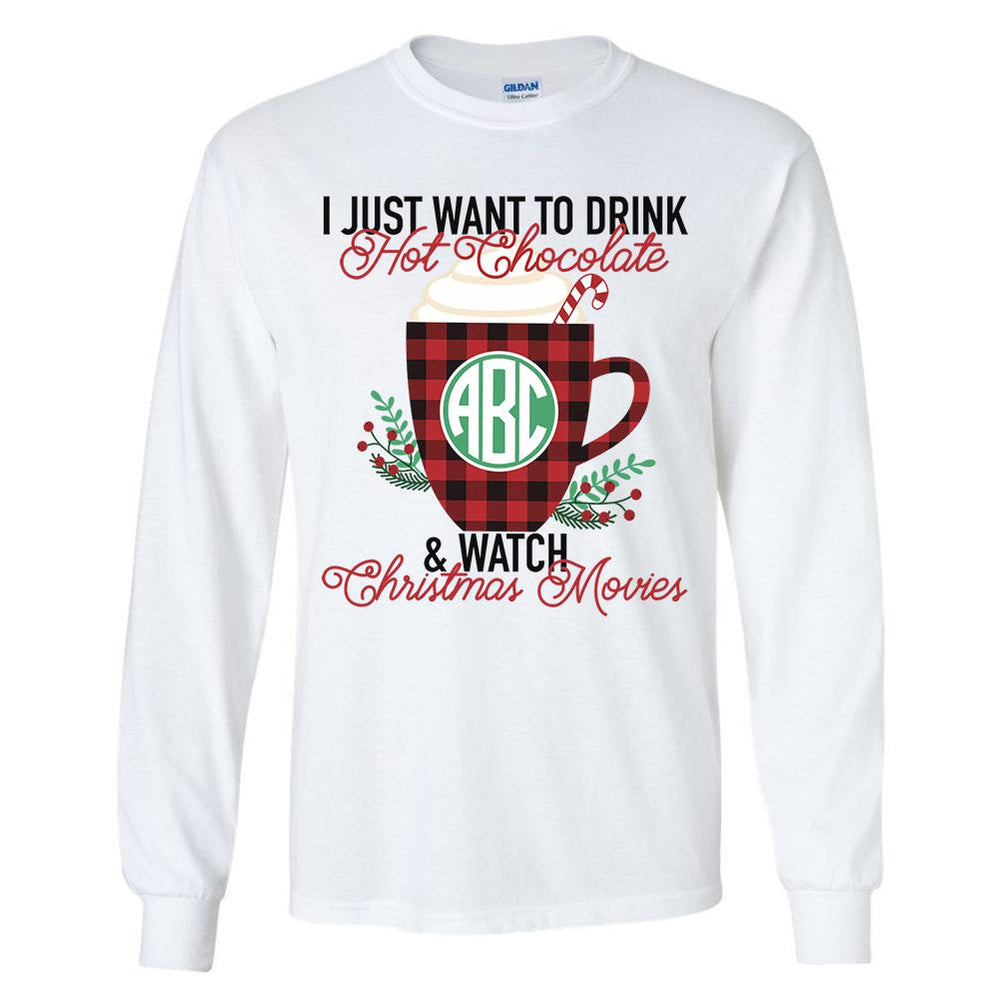 Monogrammed Hot Chocolate & Christmas Movies Long Sleeve Shirt