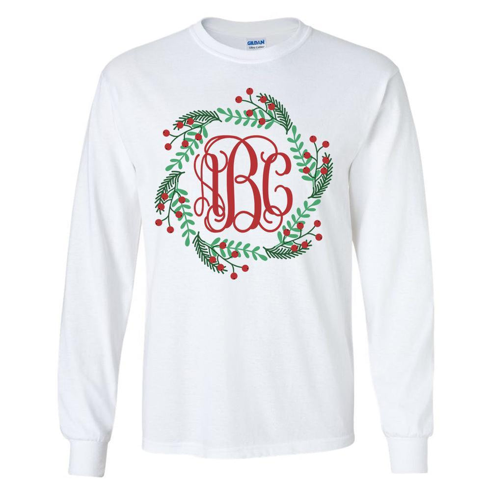 Monogrammed Christmas Holly Wreath Long Sleeve Shirt