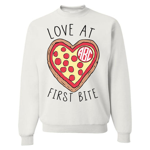 Monogrammed 'Love at First Bite' Crewneck Sweatshirt