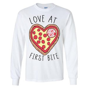 Monogrammed Pizza Love At First Bite Long Sleeve Shirt
